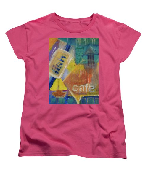 Women's T-Shirt (Standard Cut) featuring the painting Fish Cafe by Susan Stone