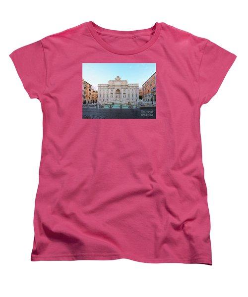 Fountain Di Trevi And Sunrise, Rome Women's T-Shirt (Standard Cut) by Anastasy Yarmolovich