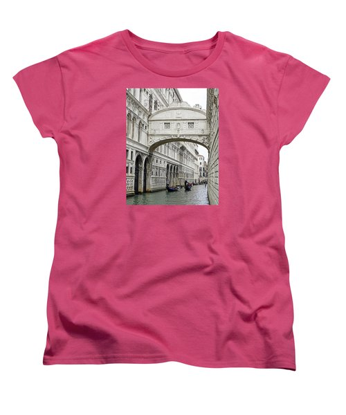 Gondolas Going Under The Bridge Of Sighs In Venice Italy Women's T-Shirt (Standard Cut) by Richard Rosenshein