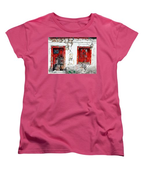 Women's T-Shirt (Standard Cut) featuring the painting House For Sale by Maria Barry
