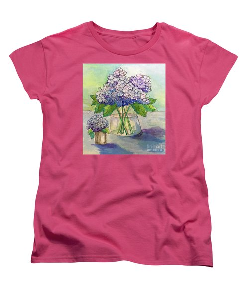 Women's T-Shirt (Standard Cut) featuring the painting Hydrangea  by Rosemary Aubut