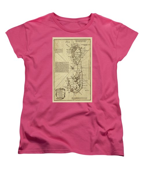 Map Of Bermuda 1750 Women's T-Shirt (Standard Cut) by Andrew Fare