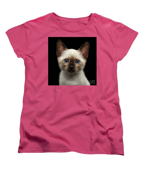 Mekong Bobtail Kitty With Blue Eyes On Isolated Black Background Women's T-Shirt (Standard Cut) by Sergey Taran