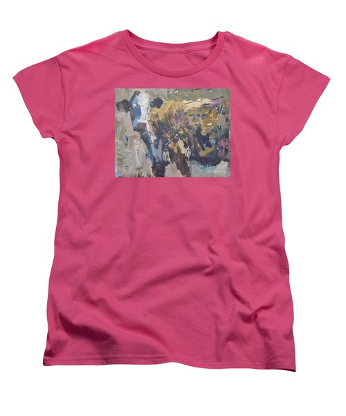 Women's T-Shirt (Standard Cut) featuring the painting Modern Abstract Cow Painting by Robert Joyner