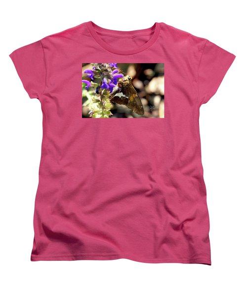 Women's T-Shirt (Standard Cut) featuring the photograph Moth On Purple Flower by Meta Gatschenberger