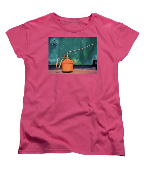 Oil Can On The Engine Women's T-Shirt (Standard Cut) by Gary Slawsky