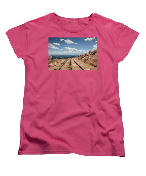 Women's T-Shirt (Standard Cut) featuring the photograph Pikes Peak Cog Railway Track At 14,110 Feet by Peter Ciro
