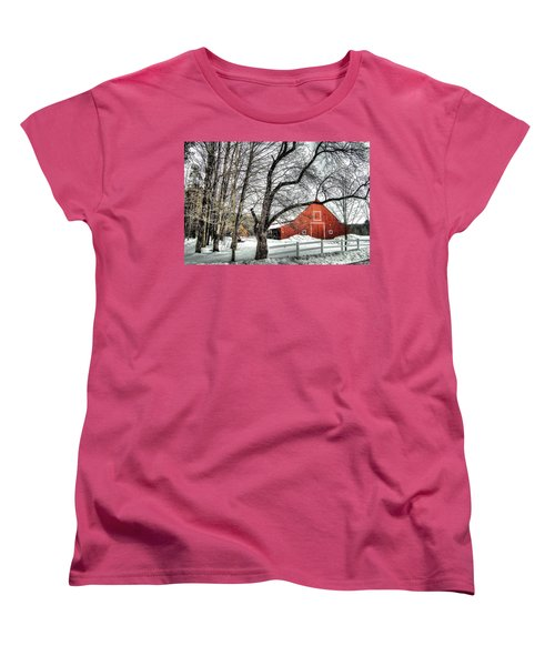 Red And White Women's T-Shirt (Standard Cut) by Betsy Zimmerli