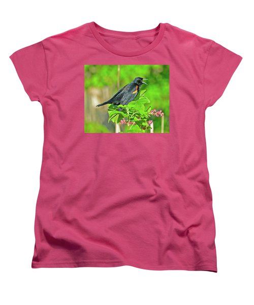 Women's T-Shirt (Standard Cut) featuring the photograph Red-winged Blackbird by Jack Moskovita