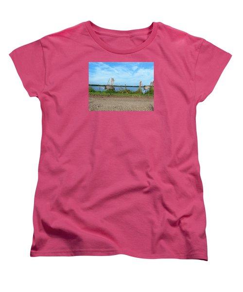 Sandhill Crane Family  Women's T-Shirt (Standard Cut) by Chris Mercer