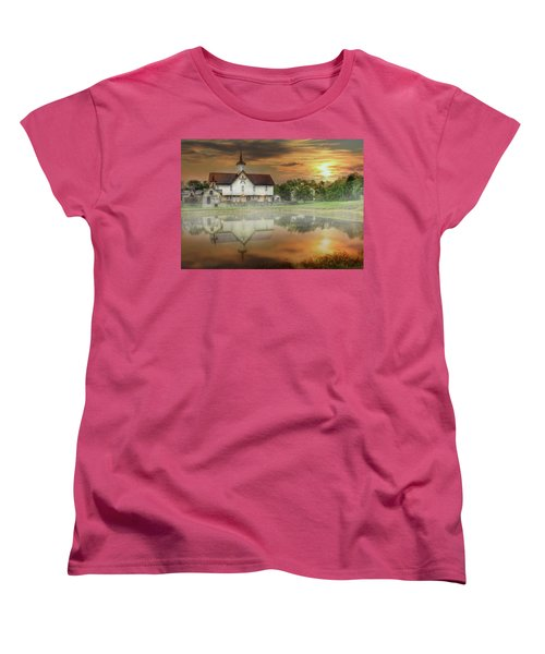 Women's T-Shirt (Standard Cut) featuring the mixed media Star Barn Sunrise by Lori Deiter