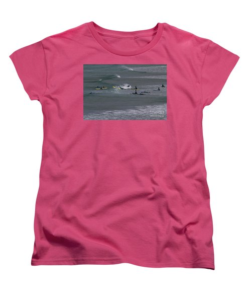 Women's T-Shirt (Standard Cut) featuring the photograph Photographs Of Cornwall Surfers At Fistral by Brian Roscorla