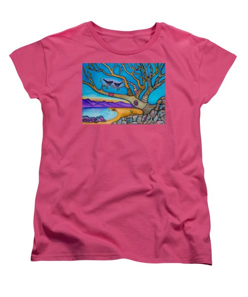 Women's T-Shirt (Standard Cut) featuring the painting The Kiss And Love Is All There Is by Lori Miller