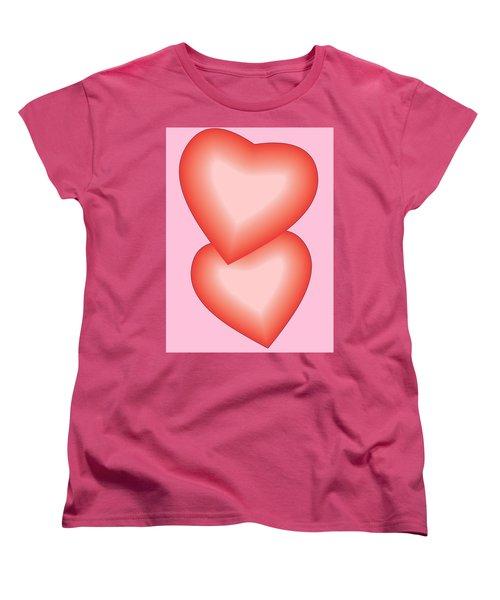 Women's T-Shirt (Standard Cut) featuring the digital art Valentine Hearts by Sherril Porter