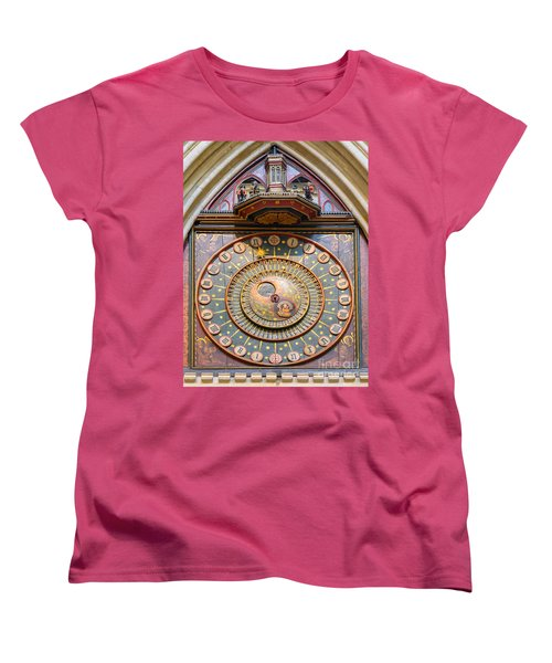 Women's T-Shirt (Standard Cut) featuring the photograph Wells Cathedral Clock by Colin Rayner