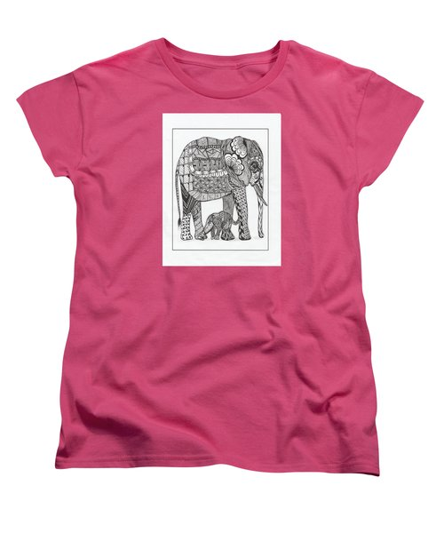 White Elephant And Baby Women's T-Shirt (Standard Cut) by Kathy Sheeran