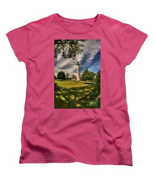 Wind Point Lighthouse Women's T-Shirt (Standard Cut) by David Bearden