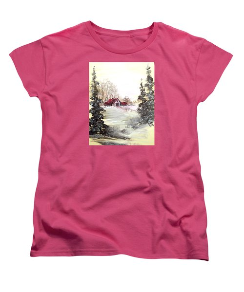 Women's T-Shirt (Standard Cut) featuring the painting Winter Landscape by Dorothy Maier
