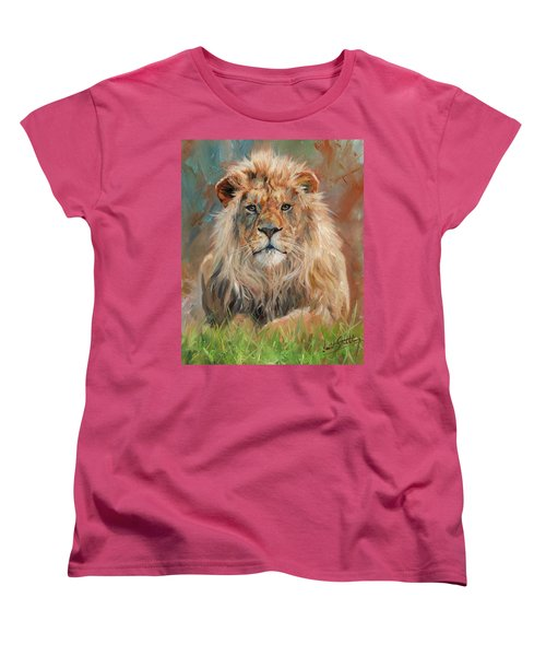 Women's T-Shirt (Standard Cut) featuring the painting Lion by David Stribbling