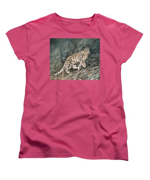 Women's T-Shirt (Standard Cut) featuring the painting Snow Leopard by David Stribbling