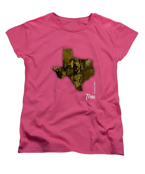 Texas State Map Collection Women's T-Shirt (Standard Cut) by Marvin Blaine