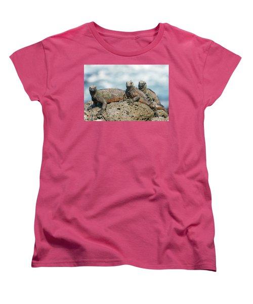 Marine Iguana On Galapagos Islands Women's T-Shirt (Standard Cut) by Marek Poplawski