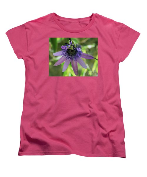 Purple Passiflora Women's T-Shirt (Standard Cut) by Elvira Ladocki