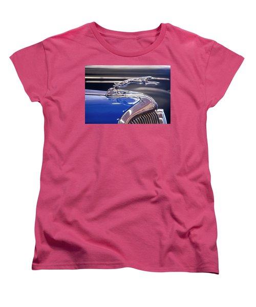 Women's T-Shirt (Standard Cut) featuring the digital art 1934  Ford Greyhound Hood Ornament by Chris Flees