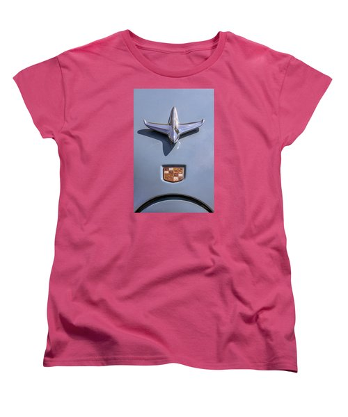 Women's T-Shirt (Standard Cut) featuring the photograph 1951 Studebaker Champion Hood Ornament by Betty Denise
