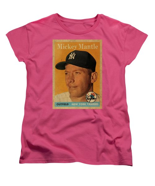 1958 Topps Baseball Mickey Mantle Card Vintage Poster Women's T-Shirt (Standard Cut) by Design Turnpike