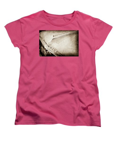 Women's T-Shirt (Standard Cut) featuring the photograph 1962 Oldsmobile Hood Ornament And Emblem -0598s by Jill Reger