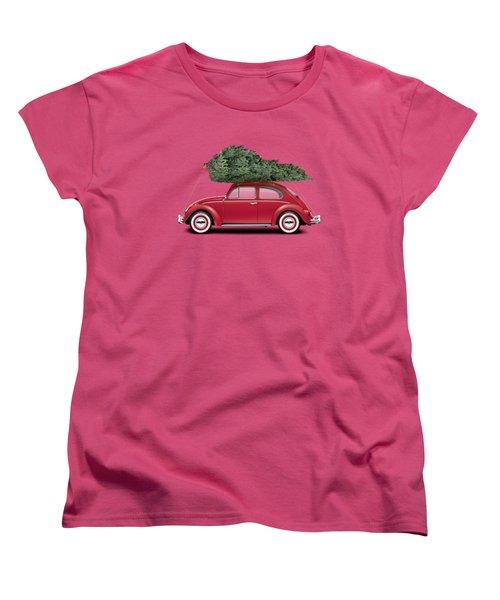1962 Volkswagen Deluxe Sedan - Ruby Red W/ Christmas Tree Women's T-Shirt (Standard Cut) by Ed Jackson