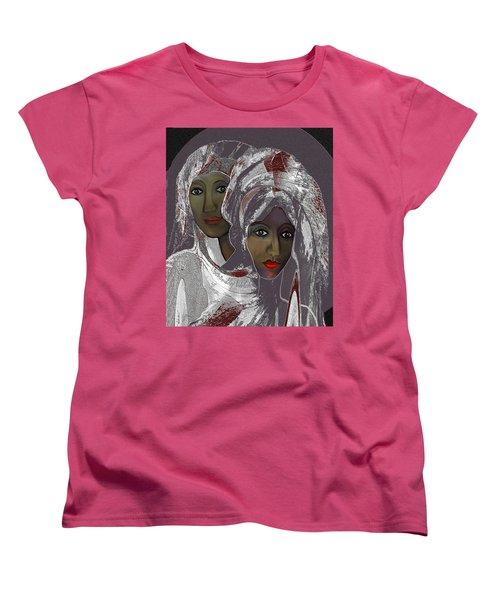 Women's T-Shirt (Standard Cut) featuring the digital art 1969 -  White Veils by Irmgard Schoendorf Welch