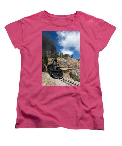 A Durango And Silverton Narrow Gauge Scenic Railroad Train Chugs Through The San Juan Mountains Women's T-Shirt (Standard Cut) by Carol M Highsmith