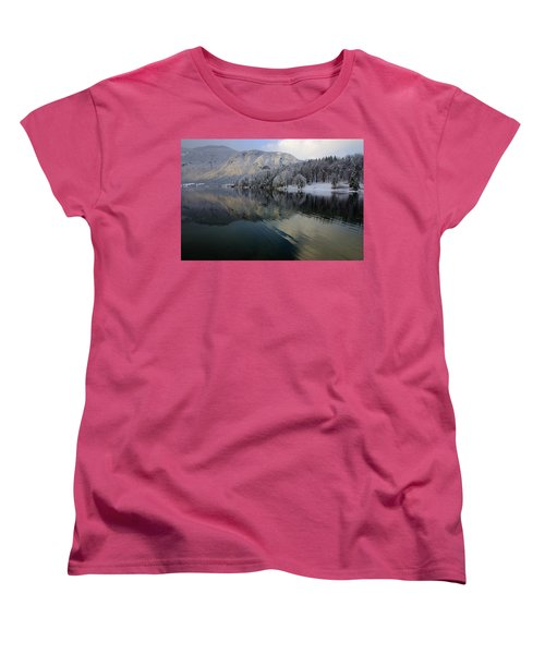 Alpine Winter Reflections Women's T-Shirt (Standard Cut) by Ian Middleton