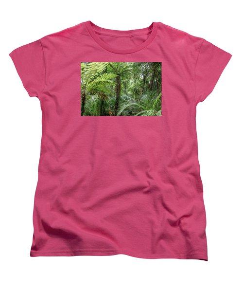 Women's T-Shirt (Standard Cut) featuring the photograph Jungle Ferns by Les Cunliffe