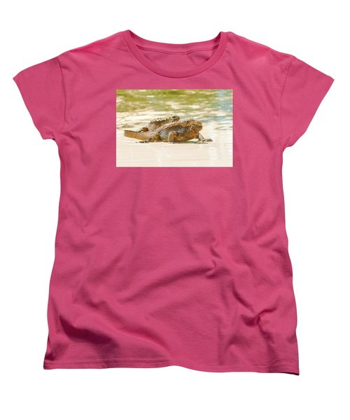 Marine Iguana On Galapagos Islands Women's T-Shirt (Standard Cut) by Marek Poplawski