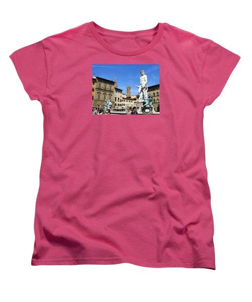 Neptune Fountain Florence Women's T-Shirt (Standard Cut) by Lisa Boyd