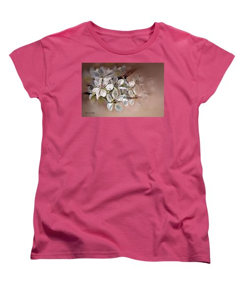 Women's T-Shirt (Standard Cut) featuring the painting Oriental Pear Blossom by Bonnie Willis