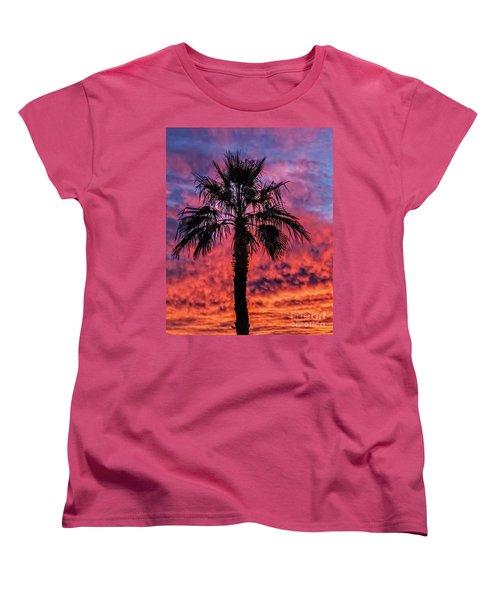 Women's T-Shirt (Standard Cut) featuring the photograph Palm Tree Silhouette by Robert Bales