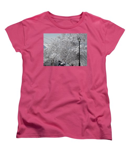 Snow Covered Trees Women's T-Shirt (Standard Cut) by Catherine Gagne