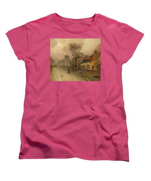 Women's T-Shirt (Standard Cut) featuring the painting The Route Nationale At Samer by Jean-Charles Cazin