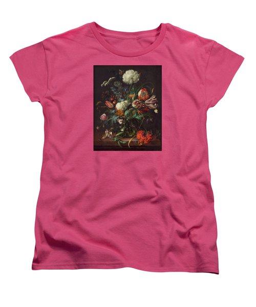 Vase Of Flowers Women's T-Shirt (Standard Cut) by Jan Davidsz de Heem