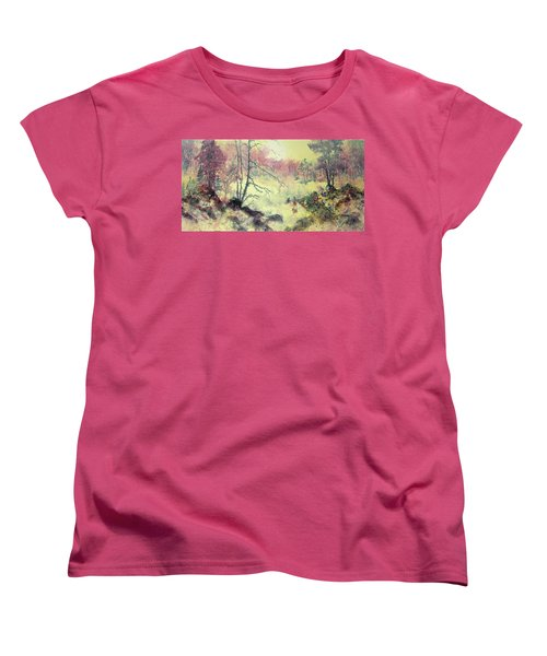 Women's T-Shirt (Standard Cut) featuring the painting Woods And Wetlands by Carolyn Rosenberger