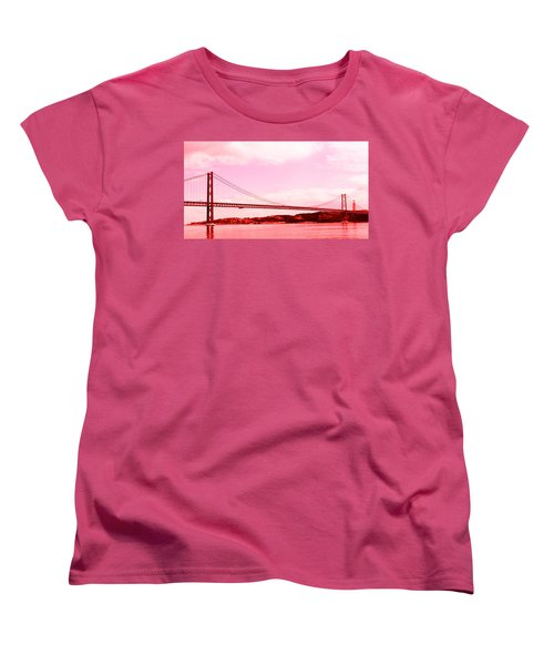 25 De Abril Bridge In Crimson Women's T-Shirt (Standard Cut) by Lorraine Devon Wilke