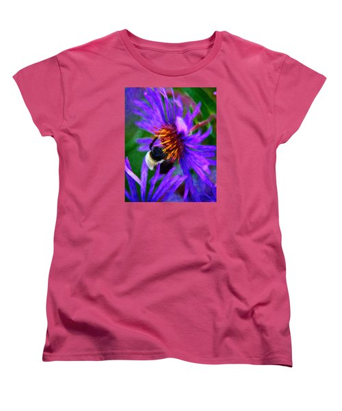 Bee On Purple Flower Women's T-Shirt (Standard Cut) by Andre Faubert