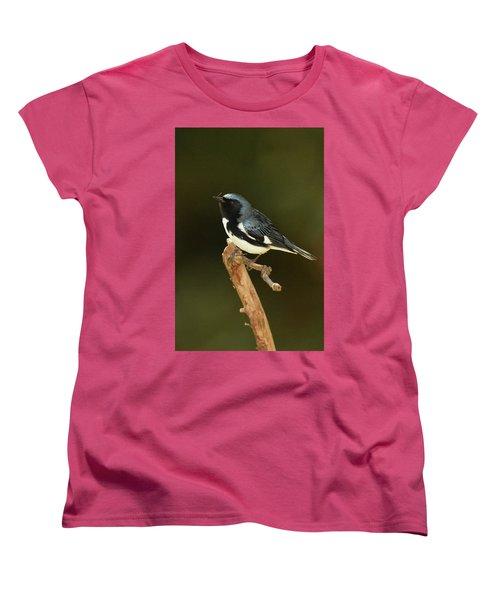Black-throated Blue Warbler Women's T-Shirt (Standard Cut) by Alan Lenk