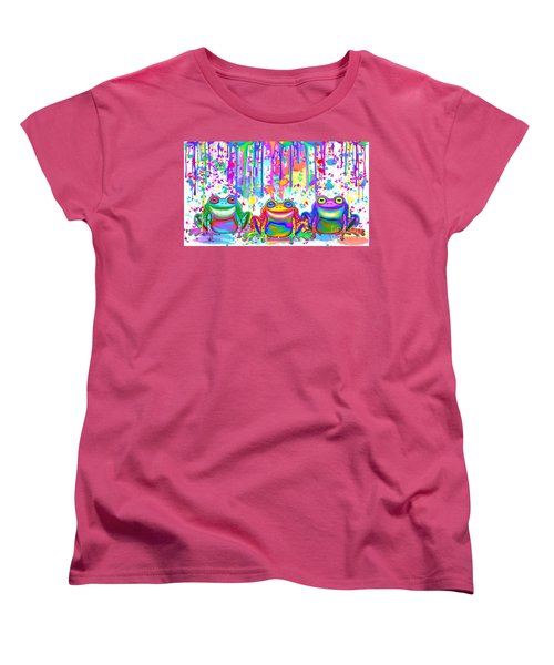 Women's T-Shirt (Standard Cut) featuring the painting 3 Colorful Painted Frogs by Nick Gustafson