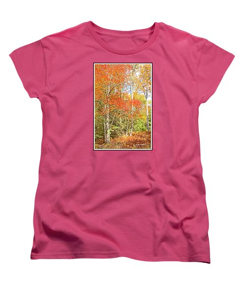 Women's T-Shirt (Standard Cut) featuring the digital art Forest Interior Autumn Pocono Mountains Pennsylvania by A Gurmankin