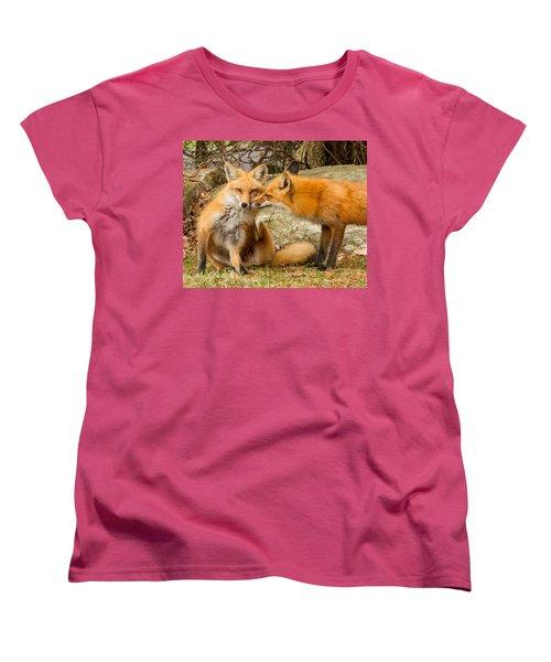 Foxes In Love Women's T-Shirt (Standard Cut) by Brian Caldwell